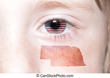 human's face with national flag of united states of america and nebraska state map