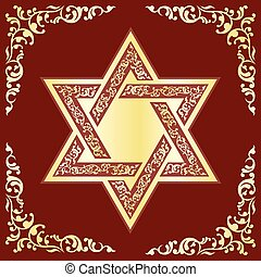 Star of David - Vector hexagonal Star of David with gold...