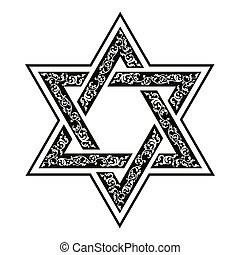 Star of David - Vector hexagonal Star of David with oriental...