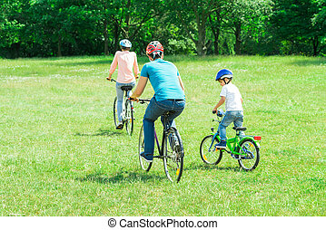 Family Riding The Bicycle In The Park - Rear View Of A...