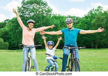 Excited Family Cycling In The Park