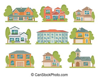 Buildings Flat Icon Set - Isolated colored different types...