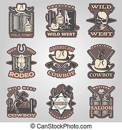 Wild West Emblem Set In Color - Wild west emblem set in...