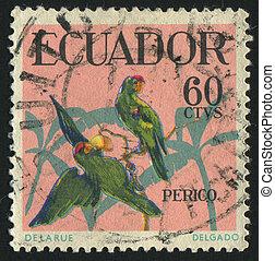 postmark - ECUADOR - CIRCA 1973: stamp printed by Ecuador,...