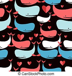 Graphics seamless pattern Lovers whales