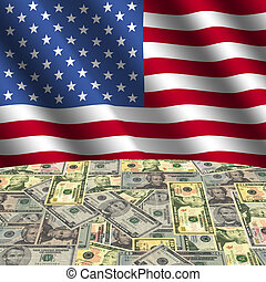 flag with American dollars