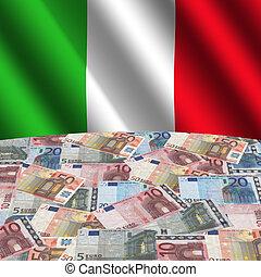 flag with Italian euros