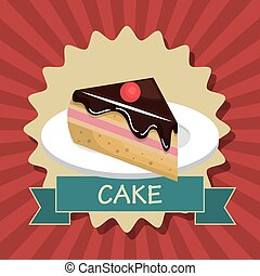 cake slice dessert isolated vector illustration eps 10