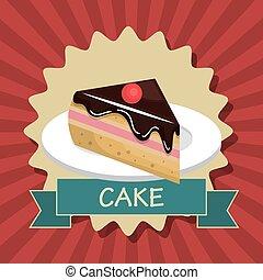 cake slice dessert isolated vector illustration eps 10