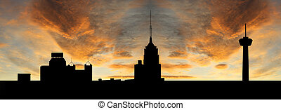 San Antonio at sunset with colourful sky illustration