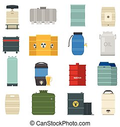 Barrel capacity tanks vector set - Stack different oil drums...