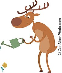 Cartoon deer vector character - Cute deer cartoon comic wild...