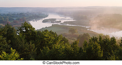 Summer landscape with a river view - Summer landscape with...
