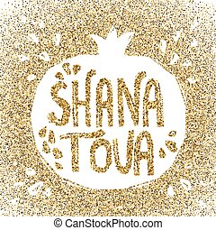 Rosh Hashanah greeting card with pomegranate. Shana Tova or...