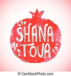 Rosh Hashanah greeting card with pomegranate Shana Tova or...