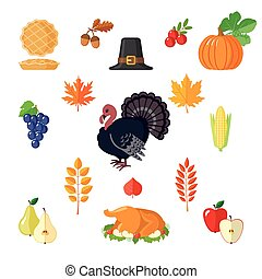 Set of Thanksgiving icons in flat style.