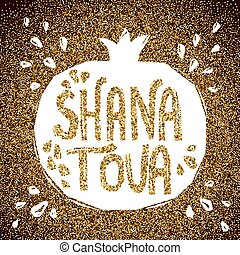 Rosh Hashanah greeting card with pomegranate.