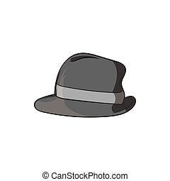 Mens hat icon, black monochrome style - Mens hat icon in...