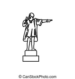 Christopher Columbus sculpture icon, outline style -...