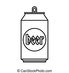 Beer can icon, outline style - Beer can 500 in outline style...