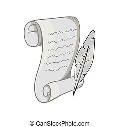 Scroll paper and feather icon, monochrome style