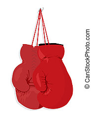 Boxing gloves hang on a nail. A vector illustration