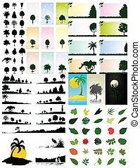 The big collection on a theme of trees and the nature. A vector illustration