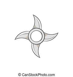 Ninja shuriken icon, black monochrome style - Ninja shuriken...