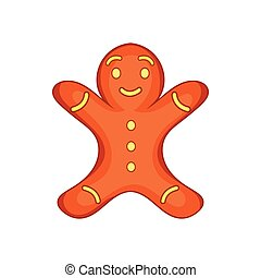 Gingerbread man cookie icon, cartoon style - Gingerbread man...