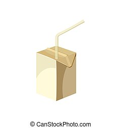 Milk box with drinking straw icon, cartoon style - Juice or...