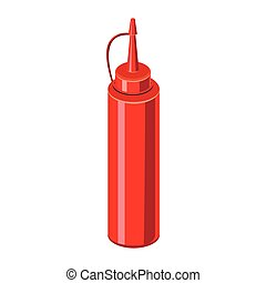Sauce bottle icon, cartoon style - Sauce bottle in cartoon...