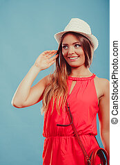 Fashion woman in hat and red shirt with handbag - Happy cute...