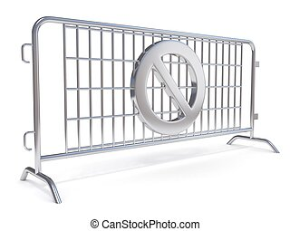 Steel barricades with NO sign. Side view. 3D render...