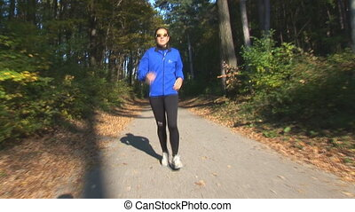 running woman following camera