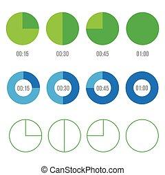Timer icons vector circles