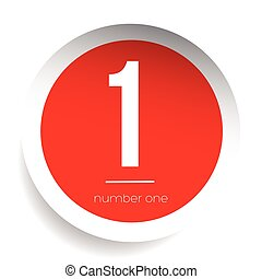Number one vector label red