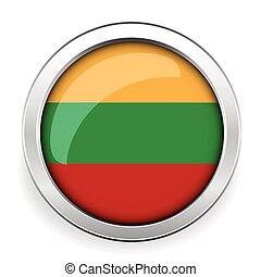 Lithuania flag silver button