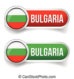 Bulgaria flag silver button vector