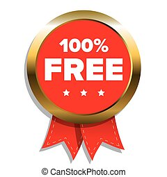 100 percent free badge with red ribbon
