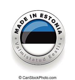 Made in Estonia silver button with Estonian translation