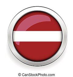 Latvia flag silver button