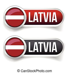 Latvia flag silver button