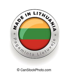 Made in Lithuania silver button with Lithuanian translation