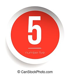 Number five vector label red