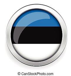 Estonia flag silver button