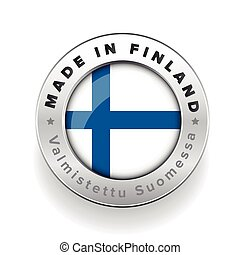 Made in Finland button with finnish translation