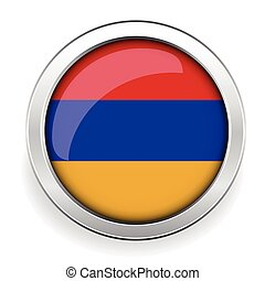 Armenia flag silver button