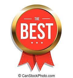 The Best award label with red ribbon