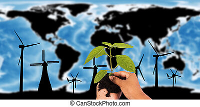 Renewable concept save the world ,wind turbine on map the earth, Elements of this image furnished by NASA.