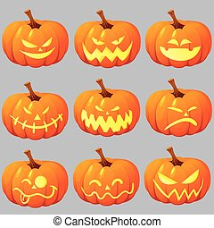 Jack o Lantern - Vector illustration of halloween pumpkin...